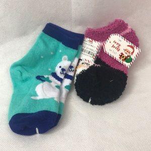 Blue Polar bear socks and Pink Cozy Penguin socks